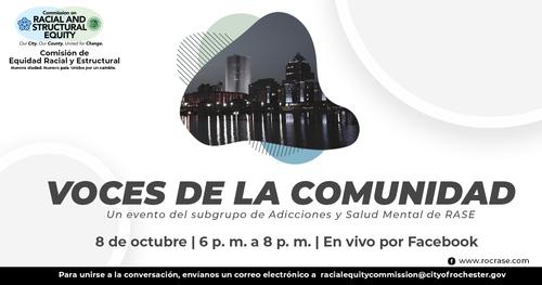 Community Voices Event Graphic - Spanish